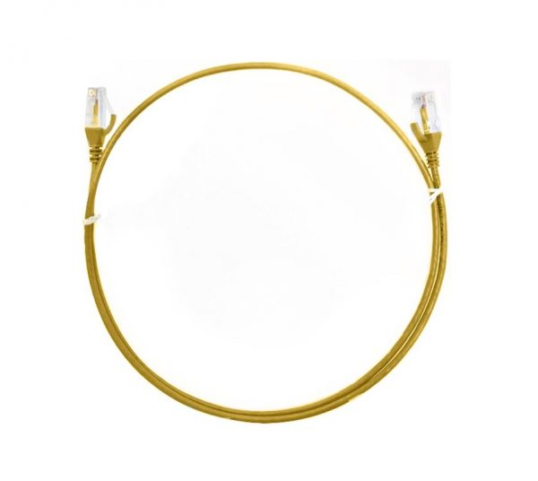 8ware-CAT6THINYE-1M-8ware CAT6 Ultra Thin Slim Cable 1m / 100cm - Yellow Color Premium RJ45 Ethernet Network LAN UTP Patch Cord 26AWG for Data Only